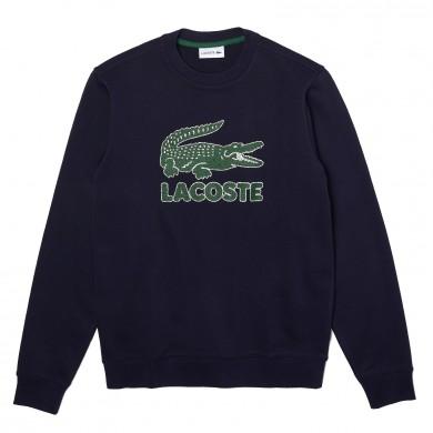 Lacoste Crew Neck Crackled Print Logo Fleece Sweatshirt Navy Blue