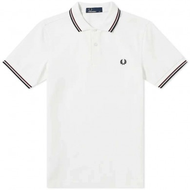 Fred Perry Slim Fit Twin Tipped Polo Snow White, Shiraz & Navy
