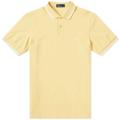 Fred Perry Slim Fit Twin Tipped Polo Cornsilk & White