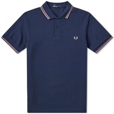 Fred Perry Slim Fit Twin Tipped Polo Dark Carbon & Pale Lilac