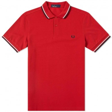Fred Perry Slim Fit Twin Tipped Polo Winter Red, Snow White & Navy