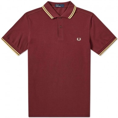 Fred Perry Slim Fit Twin Tipped Polo Aubergine & Custard