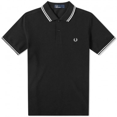Fred Perry Slim Fit Twin Tipped Polo Black & Porcelain