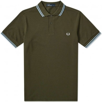 Fred Perry Slim Fit Twin Tipped Polo Forest Night & Sky Blue