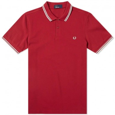 Fred Perry Slim Fit Twin Tipped Polo Claret & Snow White