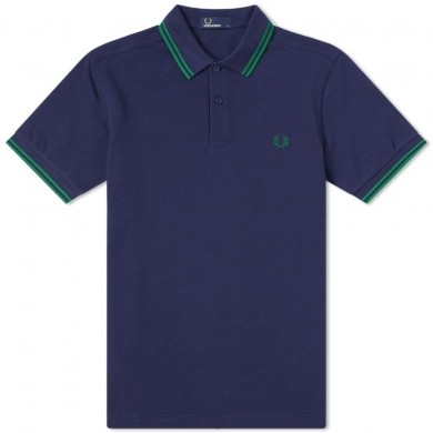 Fred Perry Slim Fit Twin Tipped Polo Carbon Blue & Privet
