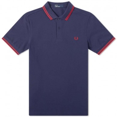 Fred Perry Slim Fit Twin Tipped Polo Carbon Blue & Deep Red