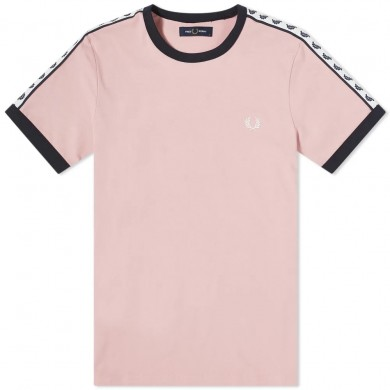 Fred Perry Authentic Taped Ringer Tee Chalky Pink