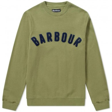 Barbour Prep Logo Crew Mens Sweatshirt Burnt Olive