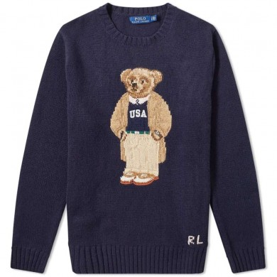 Polo Ralph Lauren Casual Bear Intarsia Crew Knit Navy