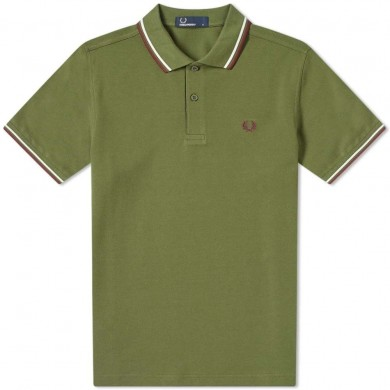 Fred Perry Slim Fit Twin Tipped Polo Cypress, White & Maroon