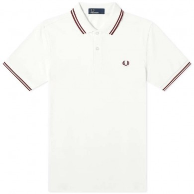 Fred Perry Slim Fit Twin Tipped Polo Snow White & Maroon