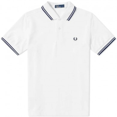 Fred Perry Slim Fit Twin Tipped Polo White & Navy