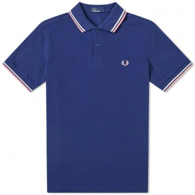 Fred Perry Slim Fit Twin Tipped Polo French Navy, White & Pink