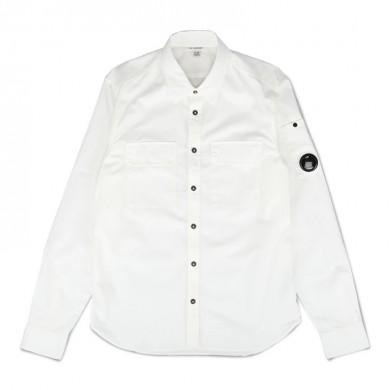 C.P. Company Gabardine Garment Dyed Lens Shirt Gauze White