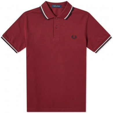 Fred Perry Slim Fit Twin Tipped Polo Tawny Port, Misty Jade & Navy