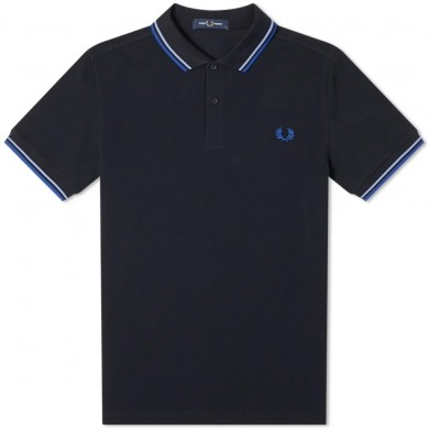 Fred Perry Slim Fit Twin Tipped Polo Navy, Riviera & Cobalt