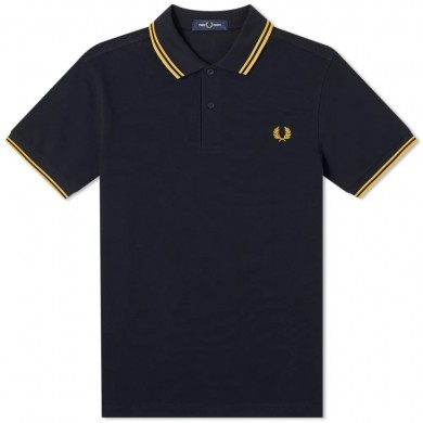 Fred Perry Slim Fit Twin Tipped Polo Navy & Gold
