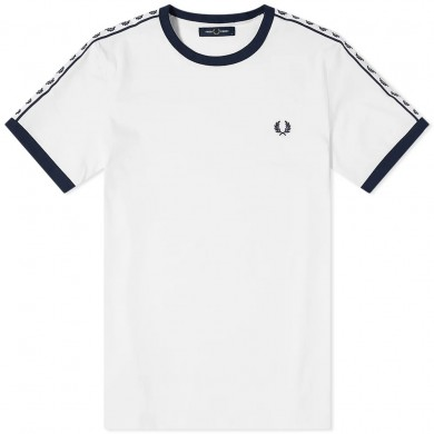 Fred Perry Authentic Taped Ringer Tee Snow White