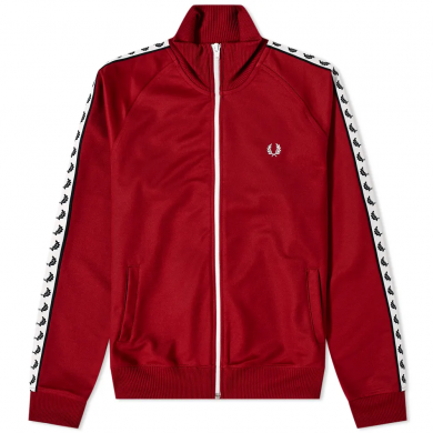 Fred Perry Sports Authentic Laurel Taped Track Jacket Rosso
