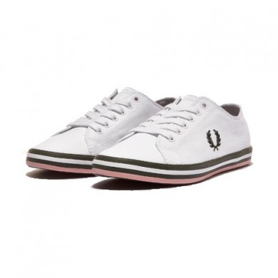 Fred Perry Kingston Twill White, Hunting Green & Pink
