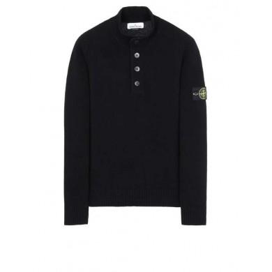 Stone Island 532A3 Lambswool Half Button Sweater Black