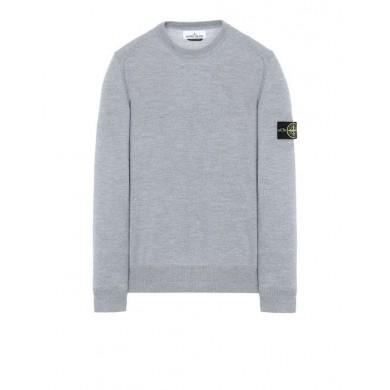 Stone Island 524C4 Crew Neck Wool Sweatshirt Pearl Gray