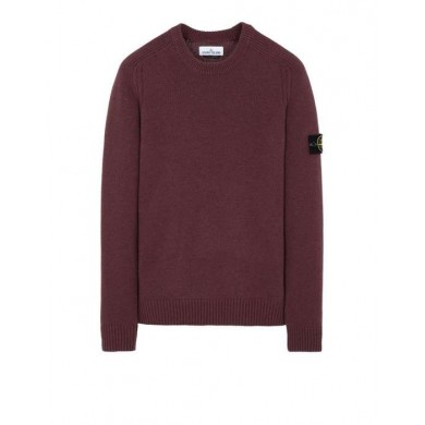 Stone Island 552A3 Lambswool Crew Neck Sweater Dark Burgundy
