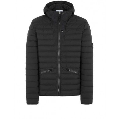 Stone Island 43125 Loom Woven Down Chambers Stretch Nylon-TC Black