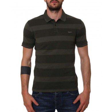 Woolrich Striped Polo Dark Green