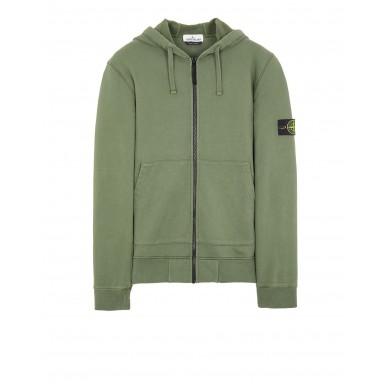 Stone Island 64220 Garment Dye Zip Through Hoody Sage Green