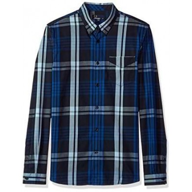Fred Perry Twill Check Shirt Navy