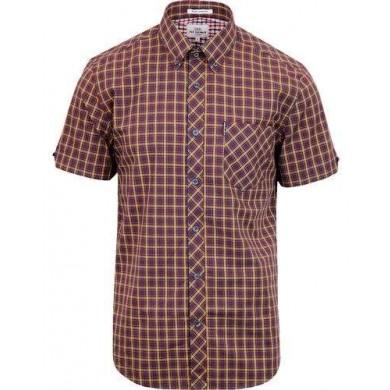 Ben Sherman Short Sleeve House Check Shirt Brown