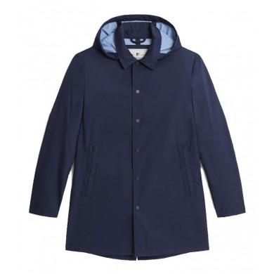 Woolrich Triple Layer Cotton Car Coat Melton Blue