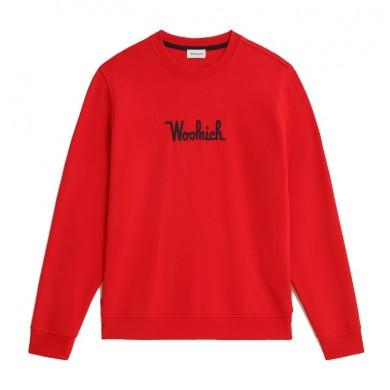 Woolrich Essential Crewneck Sweatshirt Organic Cotton Marine Scarlet