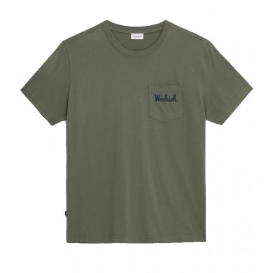Woolrich Embossed Logo Pocket Tee Fishing Green