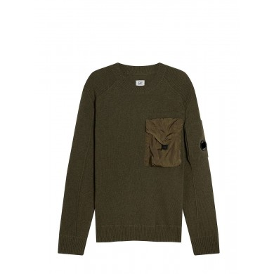 C.P. Company Lambswool Mixed Chrome Pocket Crew Sweat Dusty Olive