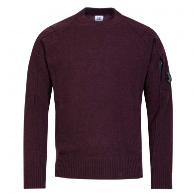 C.P. Company Arm Lens Lambswool Crew Knit Bitter Chocolate