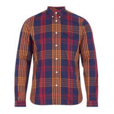Fred Perry Twill Check Shirt Navy & Orange