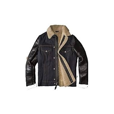 Schott NYC Limited Edition Bimaterial West Rodeo Jacket LMONEOONE Denim&Black