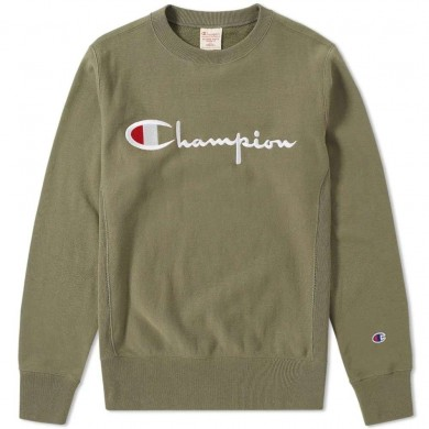 Champion Reverse Weave Script Logo Crew Sweat Charcoal