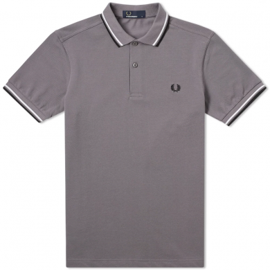 Fred Perry Slim Fit Twin Tipped Polo Iced Slate, White & Black
