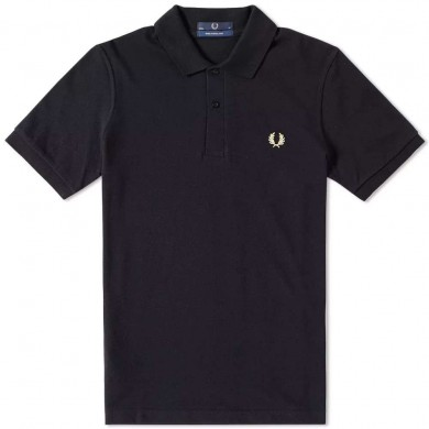 Fred Perry Reissues Original Plain Polo Black & Champagne