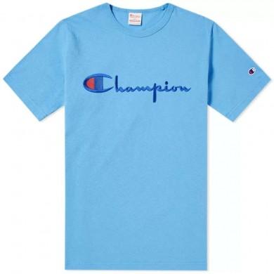 Champion Reverse Weave Script Logo Tee Azure Blue