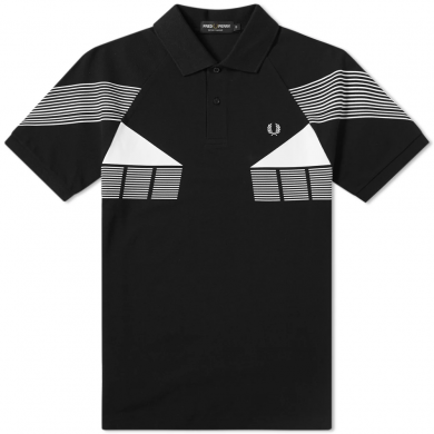 Fred Perry Stripe Graphic Pique Polo Black