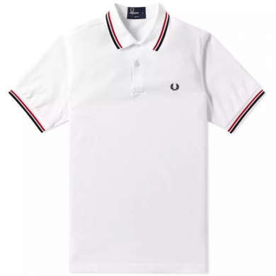 Fred Perry Slim Fit Twin Tipped Polo White, Red & Navy
