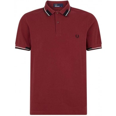Fred Perry Abstract Collar Polo Shirt Maroon