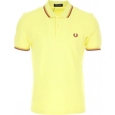 Fred Perry Slim Fit Twin Tipped Polo Limelight, Gold & Claret