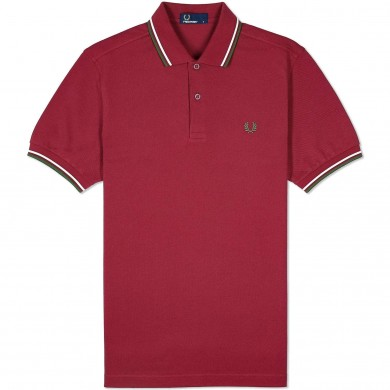 Fred Perry Slim Fit Twin Tipped Polo Maroon, Snow White & Cypress