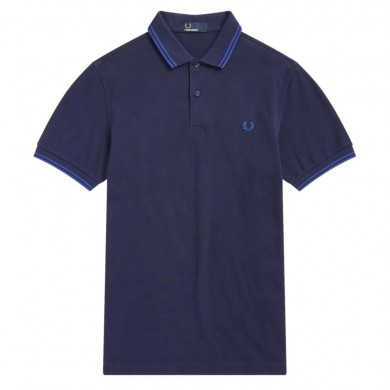 Fred Perry Slim Fit Twin Tipped Polo Carbon Blue
